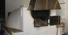stand-alone oven with stainless steel hood